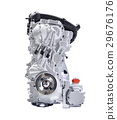Hybrid car engine isolate white with clipping path 29676176