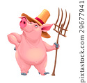 Farmer pig with tool 29677941
