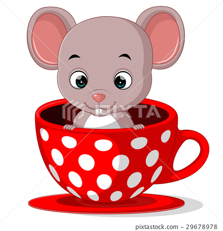 Cute Cartoon Mouse In A Cup Stock Illustration 29678978