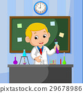 Young scientist points to chalkboard and smiling 29678986