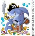 Pirate shark with treasure theme 1 29679907