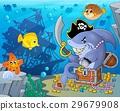 Pirate shark with treasure theme 2 29679908