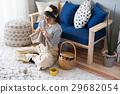뜨개질, 여성, 가로 29682054