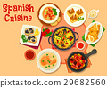 Spanish cuisine healthy dinner dishes icon 29682560