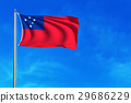 Flag of Samoa on the blue sky background. 29686229