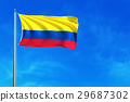 Flag of Colombiaon the blue sky background. 29687302