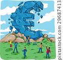 Euro symbol in crash for european crisis  29687413