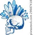 punk surfer skull with surfboard 29687418
