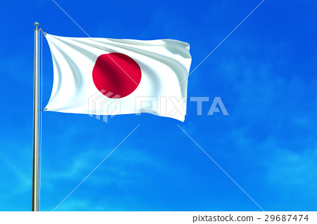 Japan flag on the blue sky background. 29687474