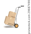 Hand truck with cardboard boxes. 29687490