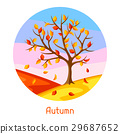 Autumn landscape with tree and yellow leaves 29687652