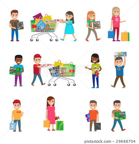 Smiling Children Doing Shopping Poster on White 29688704