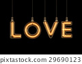 Love word made of light bulb.  29690123