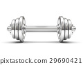 Iron dumbbell on a white background.  29690421