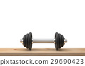 dumbbell on wood table.  29690423