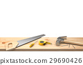 Hammer, nails, saw, screwdriver and neasuring Tape 29690426