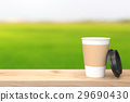 Paper cup of coffee on the wood table  29690430
