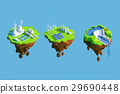 Isometric view low poly green energy concept.  29690448