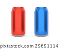 Red and Blue can isolated on white background.  29691114