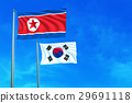 North and South Korea flags on the blue sky. 29691118