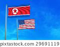 North Korea and United States (USA) flags. 29691119