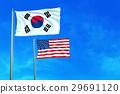 South Korea and United States (USA) flags. 29691120