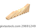 Domino effect, Wooden blocks on white background. 29691249