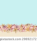 Seamless background of seashells.  29692172