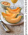 Ripe melon slices and glass of juice 29692884