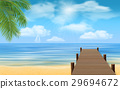 sea beach and wooden jetty 29694672