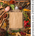 Different spices around kraft paper 29694819
