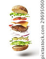Delicious hamburger with flying ingredients 29695060