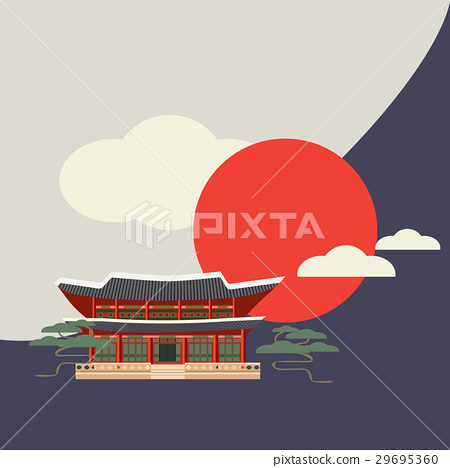 Buddhist temple or shrine with sun and clouds. 29695360