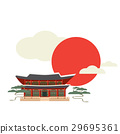 Buddhist temple or shrine and sun with clouds. 29695361
