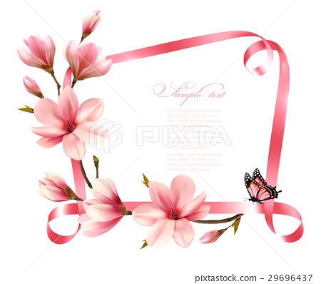 Nature background with blossom branch of magnolia  29696437