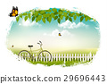 Spring nature meadow landscape with a bicycle.  29696443