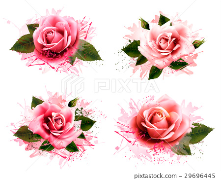 Set of greeting cards with pink roses. Vector 29696445