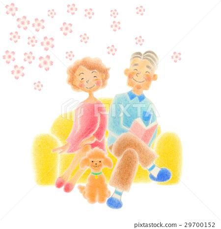 資深夫婦坐沙發 29700152