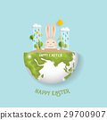 Happy easter background design. Happy easter cards with Easter bunnies. Vector illustration 29700907