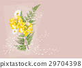 flowers circle bouquet and fern  on brown  backgro 29704398