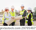 Asian construction engineer checking blueprint 29705467