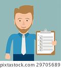 Cartoon Businessman Clipboard Checklist 29705689