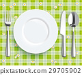 Green Picnic Blanket Plate Spoon Knife Fork 29705902