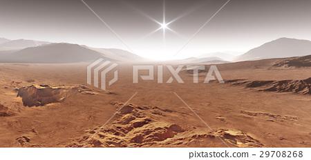 Martian landscape with sand dunes. 3D illustration 29708268