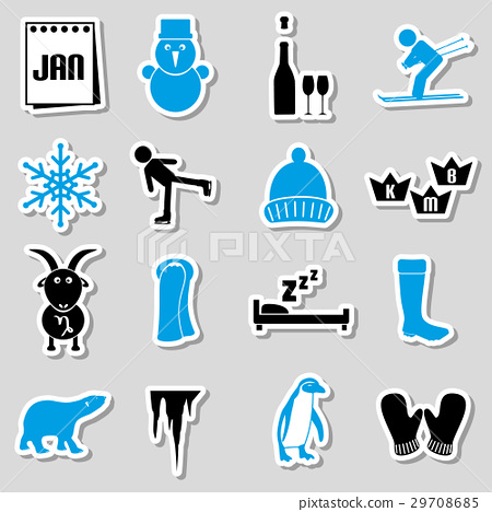 january month theme set of simple stickers eps10 29708685