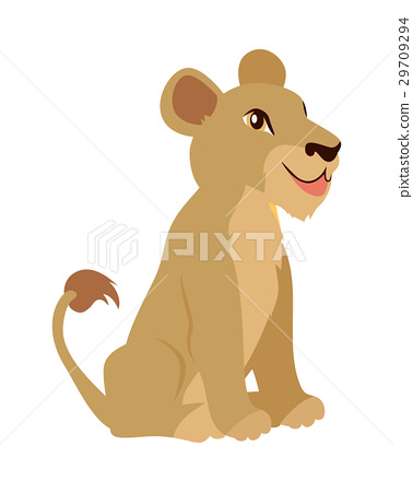 Lioness or Lion Cub Cartoon Icon in Flat Design 29709294