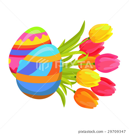 Beautifully Colored Eggs and Festive Tulips Art 29709347