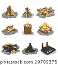 Burning Campfire Logs Collection Isolated on White 29709375