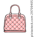 Trendy Leather Pink Bag Isolated Illustration 29709405