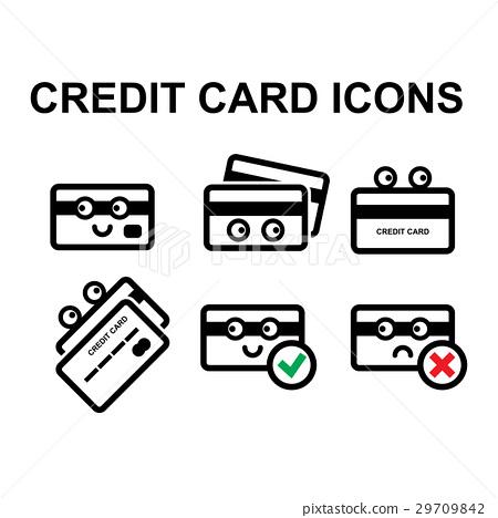 Cute Credit Card Vector Icon Set - Stock Illustration